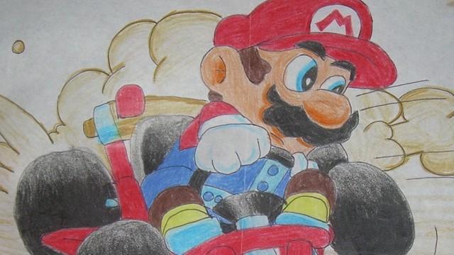 Un dibujo viejo de Super Mario Kart